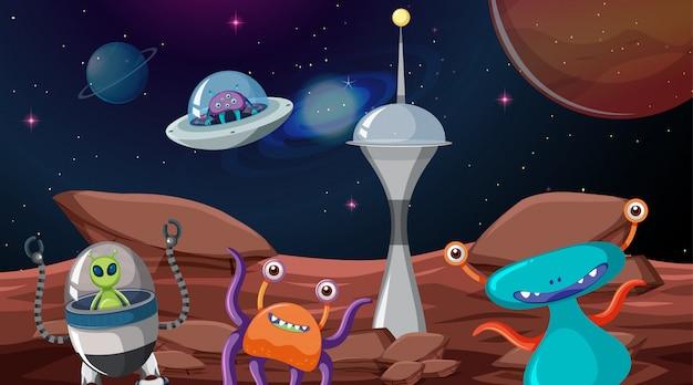 Alien en la escena espacial