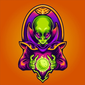 Alien haciendo nueva ilustración del planeta