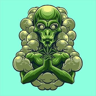 Alien con ilustración de diseño de marihuana