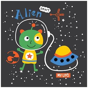 Alien y ovni divertidos dibujos animados, ilustración vectorial