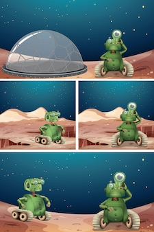 Alien robot escena espacial