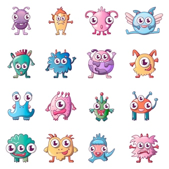 Alien scary monster icons set