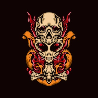 Alien skull ilustraciones