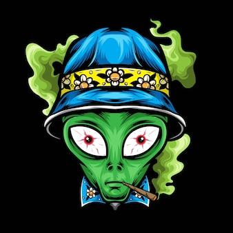 Alien con vector de sombrero de cubo