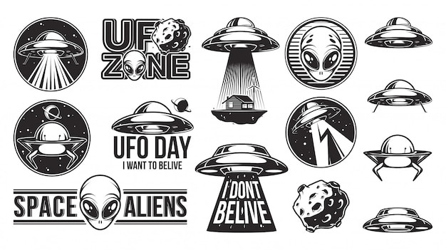 Aliens logo gran conjunto. ufo day.