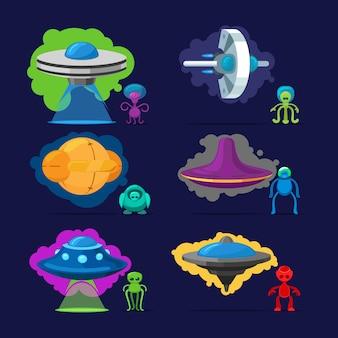 Aliens personajes vectoriales