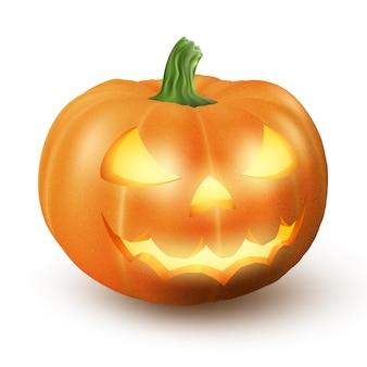 Aligerar jack o lantern brillante halloween realista sonrisa cara calabaza con luz de velas en el interior. aislado sobre fondo blanco expresión de miedo.