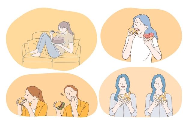 Alimentación no saludable, comida rápida y chatarra, concepto de calorías. personajes de dibujos animados de chicas jóvenes comiendo rápido