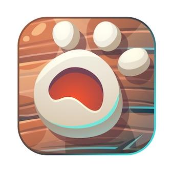 Alimente al zorro gui match 3 icono de pata ilustración estilizada de dibujos animados