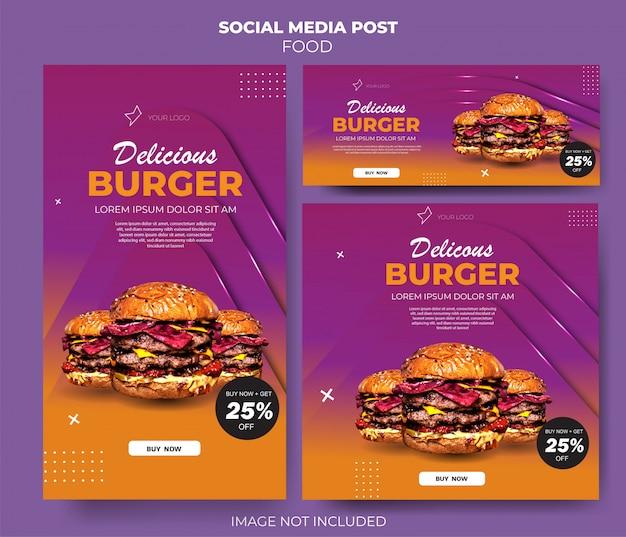Alimento degradado púrpura establece alimentación de plantilla de redes sociales