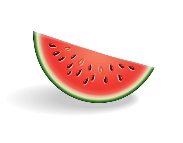 Alimento dulce natural de sandía. icono de fruta roja madura cortada en rodaja en estilo de dibujos animados realista 3d. baya colorida fresca y jugosa aislada en el fondo blanco.