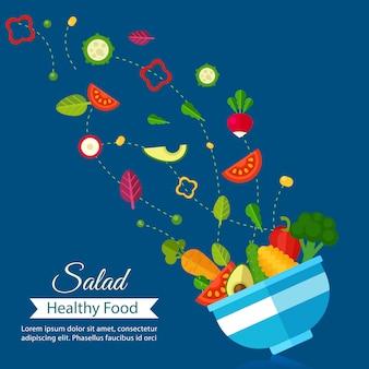Alimento ecológico y vegetal, menú de ensaladas, dieta de alimentos saludables.