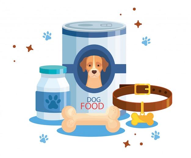 Alimento para perro en lata con elementos