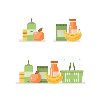Alimentos y bebidas comestibles, pila de productos, concepto de consumo, programa de lealtad de la tienda minorista, oferta y demanda, abundancia de opciones de alimentos