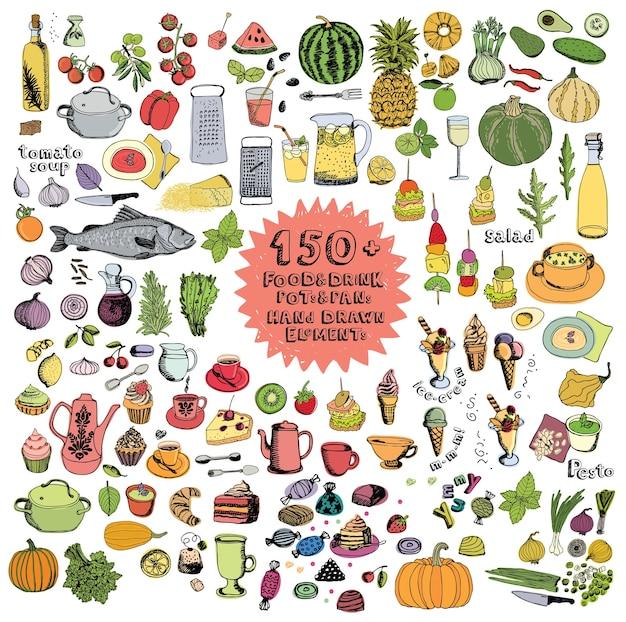 Alimentos y bebidas ollas y sartenes elementos dibujados a mano conjunto de colores
