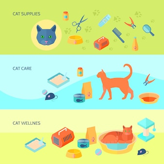 Los alimentos y cuidados para gatos de interior suministran 3 banners planos horizontales con ilustración de vector aislado abstracto de portador