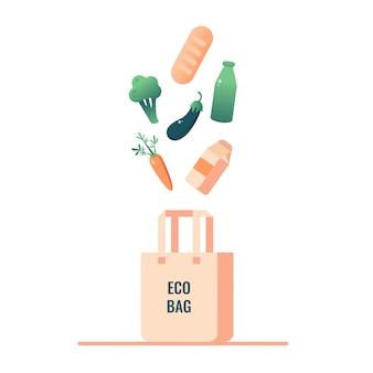 Alimentos de desperdicio cero que caen en la bolsa ecológica.