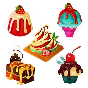 Alimentos dulces y postres con crema en la parte superior