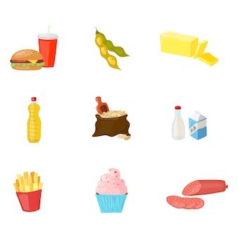 Alimentos a evitar para el conjunto de equilibrio hormonal aislado en blanco. ilustración de producto de estilo de dibujos animados de vector