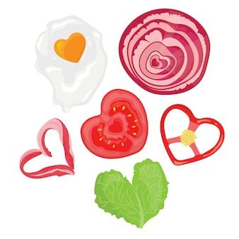 Alimentos en forma de corazones. ilustración de huevos fritos en forma de corazón.