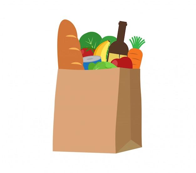 Alimentos frescos y bebidas en una bolsa de papel.