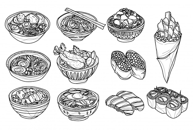 Alimentos japón establece dibujo a mano y boceto en blanco y negro