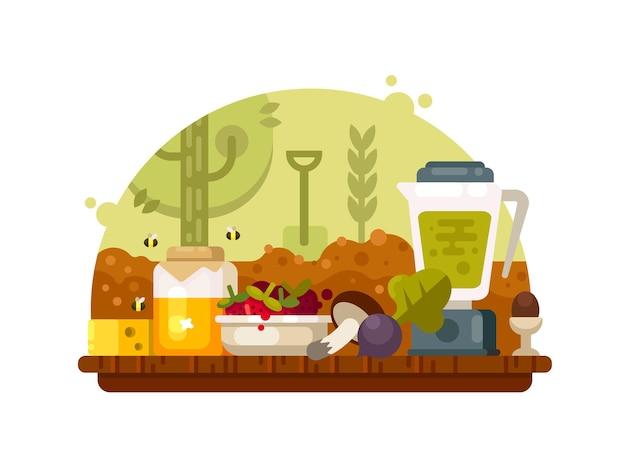 Alimentos orgánicos vegetales frutas, setas y miel. nutrición eco limpia en crecimiento. ilustración vectorial