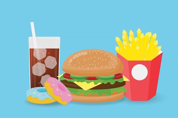 Alimentos de preparación rápida del ejemplo creativo aislados en fondo azul.