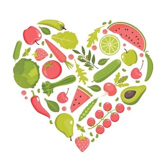 Alimentos saludables en forma de corazón