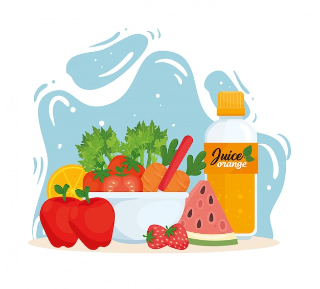 Alimentos saludables, frutas y verduras en un tazón con jugo de botella