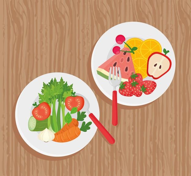 Alimentos saludables, platos con verduras y frutas sobre fondo de madera