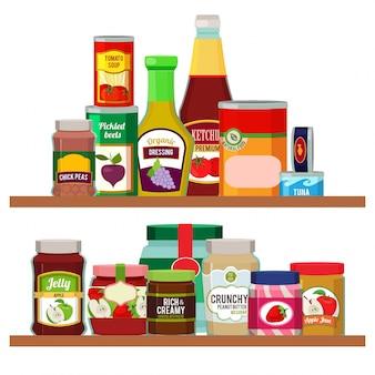Alimentos de supermercado. artículos de comestibles en estantes