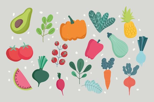 Alimentos verduras y frutas hojas frescas ilustración de patrones sin fisuras