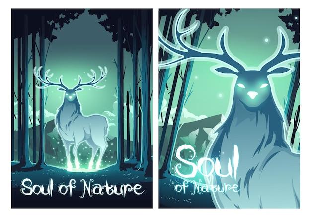 Alma de la naturaleza carteles de dibujos animados ciervos mágicos en el bosque de la noche