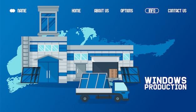 Almacén afuera, ilustración del sitio web de producción de ventanas. transporte de productos por carga, entrega global trabajando