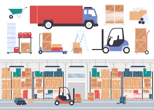 Almacén almacén ilustración. interior de almacén de empresa de almacenamiento plano de dibujos animados con cajas de productos de la tienda en estantes de paletas, inventario de stock de embalaje y camión de mensajería aislado en blanco
