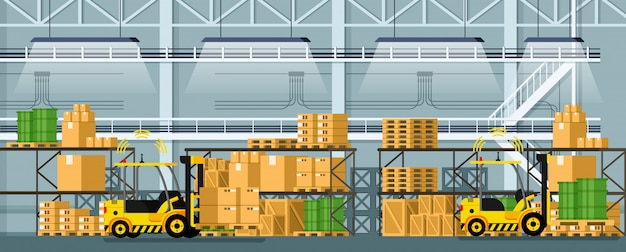 Almacén automático de distribución de carretillas elevadoras.