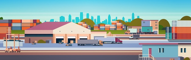 Almacén contenedor industrial semirremolque flete de carga concepto de entrega internacional al aire libre