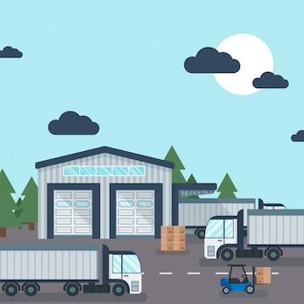 Almacén fuera del transporte y almacenamiento industrial del producto, ilustración. carretilla elevadora trabajando con caja de cartón de entrega