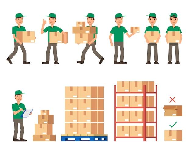Almacén inventario y trabajadores de entrega ilustración de vector de estilo plano moderno aislado sobre fondo blanco