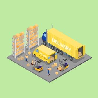 Almacén isométrico. industria de carga. trabajador en carretilla elevadora. cargamento de carga.