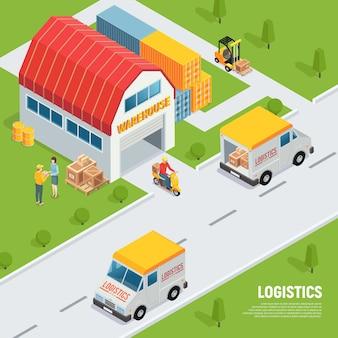 Almacén logística envío recepción de bienes equipo composición isométrica con entrega de vehículos contenedores de almacenamiento carretilla elevadora ilustración