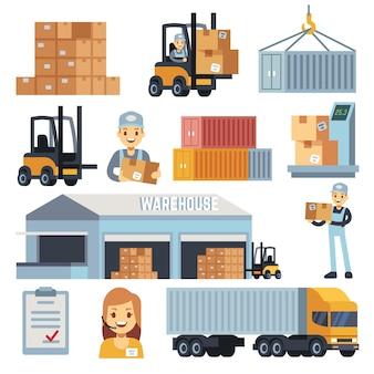 Almacén de mercancías e iconos planos logísticos del vector con los trabajadores y el equipo. entrega y almacenamiento, ilustración de bodega y caja de carga.