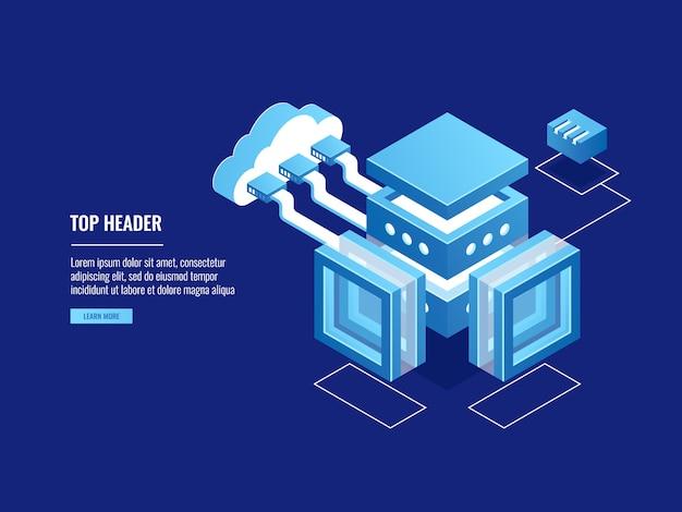 Almacén en la nube, almacenamiento de datos, sala de servidores, conexión con la nube.
