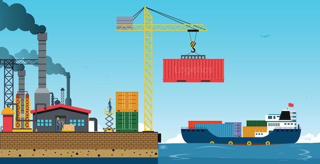 Almacén y puerto de envío con buque de carga.
