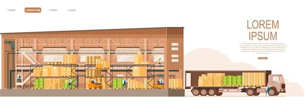 Almacén de tienda abierta entrega de camiones en el frente