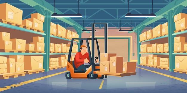 Almacén con trabajador, montacargas y cajas