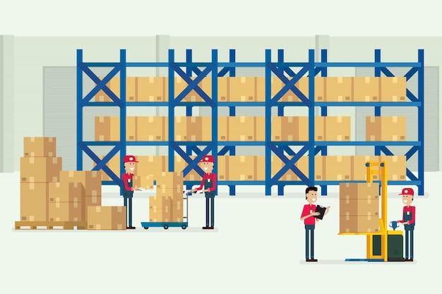 Almacén de transporte y logística con trabajadores.