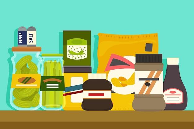 Almacenamiento de alimentos de cocina de despensa de diseño plano