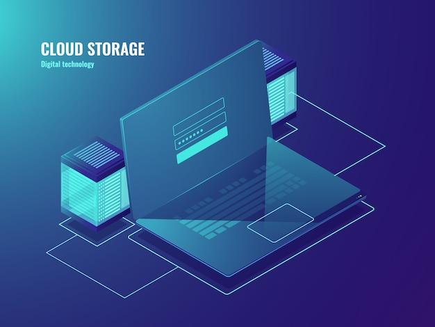 Almacenamiento de archivos en la nube, sala de servidores, acceso al centro de datos, pantalla de la computadora portátil con formulario de inicio de sesión de usuario